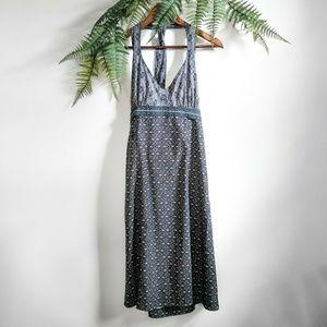 Athleta Gray & White Geometric Floral Halter Dress